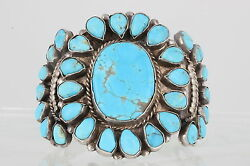 Sterling Blue Turquoise Hand Made Extra Wide Bracelet 107.8 G 925 Fine 2947