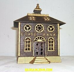 Large State Bank Building Antique Cast Iron Toy Bank