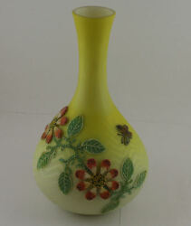 Thomas Webb And Son Coralene Mother Of Pearl Art Glass Vase