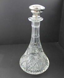 Antique Brilliant Cut Glass Cologne With Sterling Silver Monogrammed Stopper