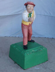 Antique Figural Cast Iron Hitching Post - Man With Brim Hat