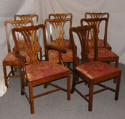 Set Of 8 Matching Antique Oak Dining Chairs Andndash Padded Seats - Ready To Be Used