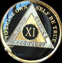 11 Year Classic Black Aa Alcoholics Anomymous Medallion Chip Coin Gold Tri Plate