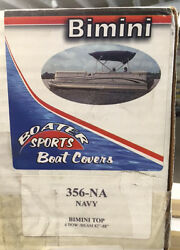 Boaters Sports Bimini Top P/n 356-na Navy For 82 To 88 Inches Heavy Vinyl