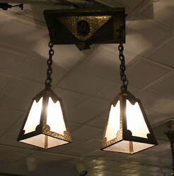 Antique Mission Arts And Crafts Brass Hanging Light Fixture Andndash 2 Bulbs