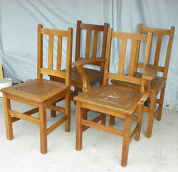 Antique Set Of Four Matching Mission Oak Chairs Made By Limbert Arts And Craft