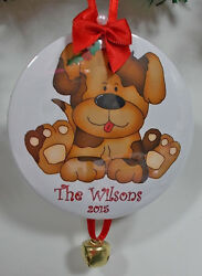 6 CUSTOM PERSONALIZED CHRISTMAS HOLIDAY ORNAMENTS BROWN PUP YOUR NAME YEAR