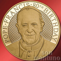 1/10 Oz - Pope Francis 80th Birthday - 26mm 24k Gold Coin 2016 Cook Islands 20