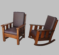 Limbert Set – Antique Mission Oak Rocking Chair and Gentlemans Arm Chair Arts