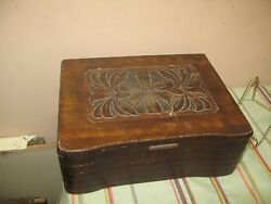 Vintage Antique Carved Wood Wooden Hinged Box Chest 9.5 X 12 X 4.5