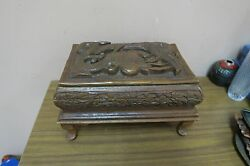 Vintage Wood Hand Carved Carving Wooden Jewelry Box Chest India 7 X 11 X 6 H