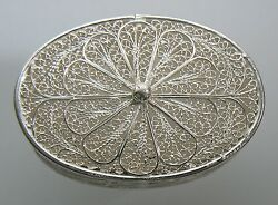 Sterling Silver 925 Large Oval Filigree Pill Box