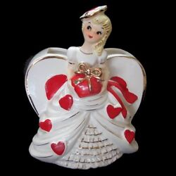 Vintage Valentine Planter Girl February Heart Vase W Hat And Bow
