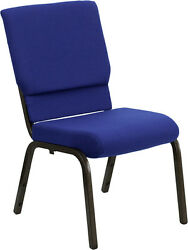 Lot Of 50 18.5 Wide Navy Blue Fabric Stacking Church Chair - Gold Vein Frame