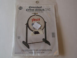 Vintage Needlemagic Counted Cross Stitch Hoop And Stand Please Dont Smoke Kit Mip