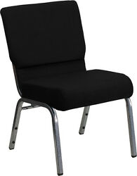 Lot Of 50 21'' Extra Wide Black Fabric Stacking Church Chairs Silver Vein Frame