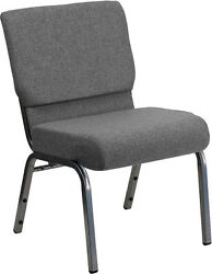 Lot Of 50 21'' Extra Wide Gray Stacking Church Chair - Silver Vein Frame