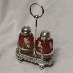 Cranberry And Rubina Satin Enameled Decorated Shakers With Silver Holder