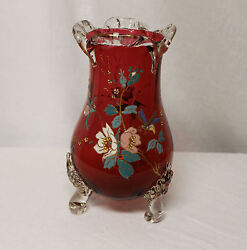 Large Cranberry Art Glass Vase With Thick Enameled Floral Design 10 1/2″ Height