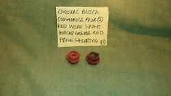 Cadillac Buick Olds Gm Pair 2 Red Wire Spoke Hubcap Locking Nuts Free Shipping