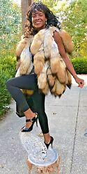 New Custom made designer Coyote tails Fur Vest sleeveless coat Jacket S-M 0-10