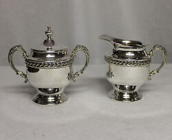 Antique Silver Creamer And Sugar With Lid Silver On Copper