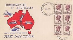 Stamp Australia 3and1/2d Kgv Definitive Booklet Pane Of 6 Wide World Generic Fdc
