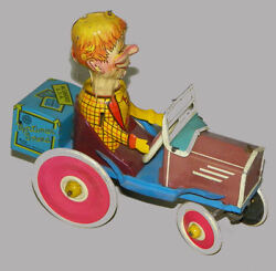 Antique Mortimer Snerd Toy - Tin Wind Up Toy