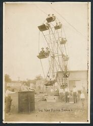 1904 Primitive Ferris Wheel And Ticket Taker Vintage Large Circus Photo