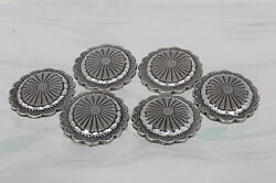 Sterling Set Of 6 Southwestern Button Covers Vintage Concho Design 925 Fine 6344