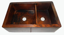 15 Apron Front Farmhouse Kitchen Double Bowl Mexican Copper Sink Stained 60/40