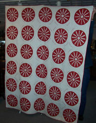 Antique Red And White Friendship Quilt With History Cumberland Iowa-church Quilt