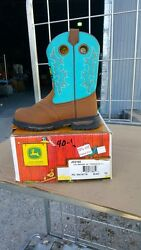 40-12 New Youth 2.5m John Deere Johnny Poppers Turquoise Western Boots Was 90