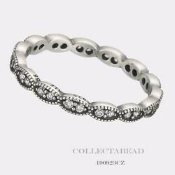 Authentic Pandora Sterling Silver Sparkling Leaves Cz Ring Size 52 6 190923cz