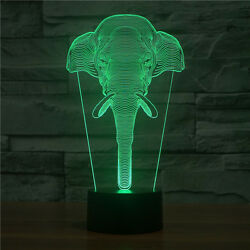 Elephant 3d Led Night Light Illusion Bulbing 7 Color Touch Switch Usb Table Lamp