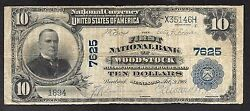 Us National Scarce First Natand039l Bank Of Woodstock Mn - 10.00 - Ch7625 - Fine