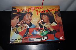 Vintage El Greco Turbo Maxies Lung Powered Spinning Top Arena Greek Toy 80's