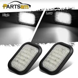 2x12 Led Truck Trailer Stop Turn Tail Reverse Lights White 5x3 Flush Mount 12v