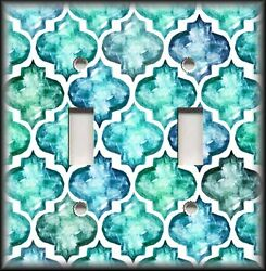 Metal Light Switch Plate Cover - Moroccan Home Decor Watercolor Turquoise Blue