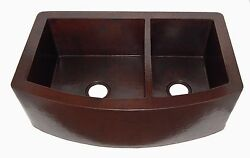 21 Rounded Apron Front Farmhouse Kitchen Double Bowl Mexican Copper Sink 60/40