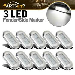 10x 3 Clear/white Led Oblong Courtesy Light Garden Accent Deck Lamp Polished
