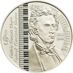 2008 Mongolia Large Silver Proof Color 500 Togrog Frederic Chopin