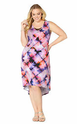 Avenue Multi Color Floral Print Sleeveless Hi-low Necklace Dress Nwt Free Ship