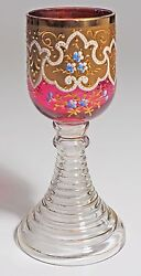 Moser - Wine Goblet - Gold Band With Enameled Flowers And Scrolls