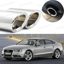 2pcs Car Exhaust Muffler Tip Tail Pipe Trim Silver For Audi A5 2012-2017 1034