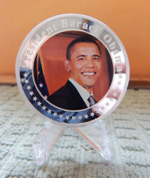 President Barack Obama Silver Picture Challenge Coin-1.75 Round