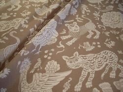 Clarence House Taupe Bali Whimsical Mythical Creatures Linen Print Fabric