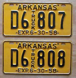 Arkansas 1958 Consecutive Number Truck License Plates Nice D6 807 And D6 808
