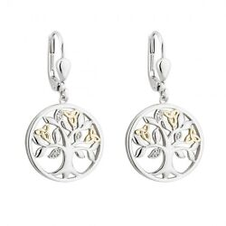 Irish Sterling Silver 10ct Gold Diamond Tree Of Life Drop Earrings s33806
