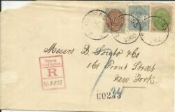 Danish West Indies Sc10c2211scarce St Thomas 26/6/1900 Registered To New